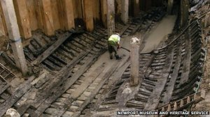 The Newport Ship timbers during excavation