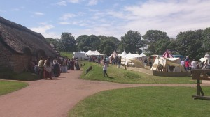 Various medieval re-enactment groups camping at Cosmeston.