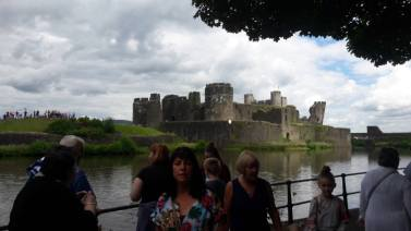 Caerphilly Castle viewed from across the moat