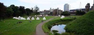 Various medieval encampments, including Garrison's to the right