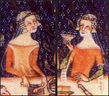 You can see this style under these high-class ladies' almost sheer veils (Luttrell Psalter (c.1325-1335 - BL Add MS 42130)